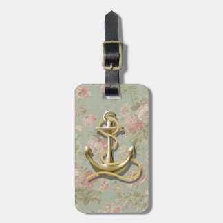 french country floral girly nautical anchor bag tag