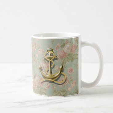 Beach Themed french country floral girly nautical anchor coffee mug