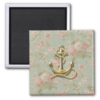 french country floral girly nautical anchor magnet
