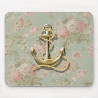 french country floral girly nautical anchor mouse pad