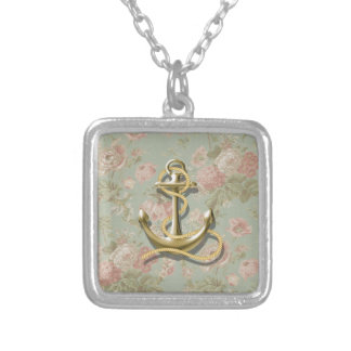 french country floral girly nautical anchor silver plated necklace
