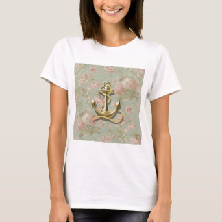 french country floral girly nautical anchor T-Shirt