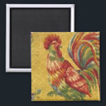 """French Country Gold Rooster Fridge Magnet<br><div class=""""desc"""">French Country Gold Rooster Fridge Magnet. This design is from my great grandmother&#39;s many old kitchen curtains &amp; tablecloths. She kept them in an old cedar chest. Grannie loved chickens &amp; roosters!</div>"""