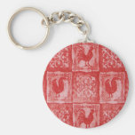 French Country Grannies Kitchen Tablecloth Basic Round Button Keychain