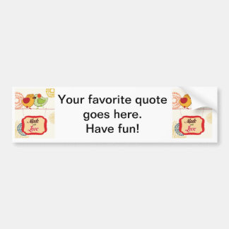 French Country Kitchen - Bird on floral. Car Bumper Sticker