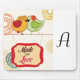 French Country Kitchen - Bird on floral. Mouse Pad