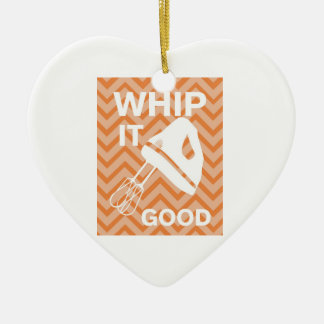 French Country Kitchen - Hand mixer on chevron. Ceramic Ornament