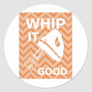 French Country Kitchen - Hand mixer on chevron. Classic Round Sticker