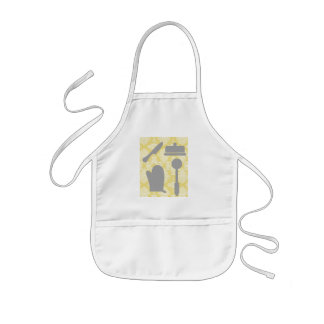 French Country Kitchen -Pans on floral damask. Kids' Apron