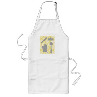 French Country Kitchen -Pans on floral damask. Long Apron