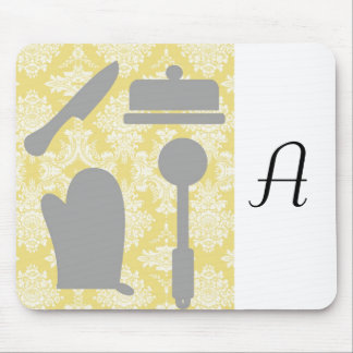French Country Kitchen -Pans on floral damask. Mouse Pad
