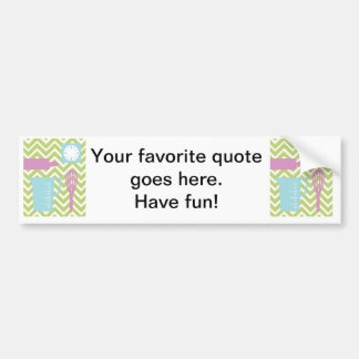 French Country Kitchen - Utensils on chevron. Bumper Sticker