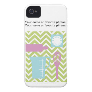 French Country Kitchen - Utensils on chevron. Case-Mate iPhone 4 Cases