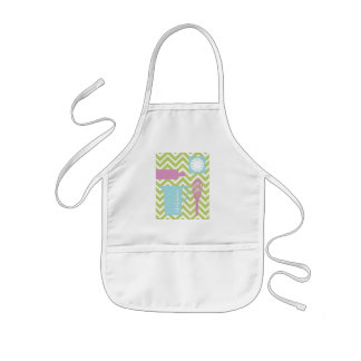 French Country Kitchen - Utensils on chevron. Kids' Apron
