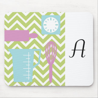 French Country Kitchen - Utensils on chevron. Mouse Pad