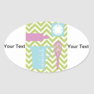 French Country Kitchen - Utensils on chevron. Oval Sticker