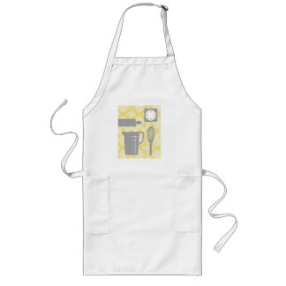 French Country Kitchen - Utensils on damask floral Long Apron