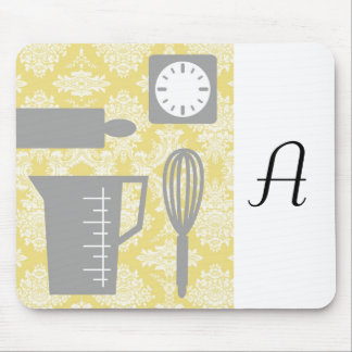 French Country Kitchen - Utensils on damask floral Mouse Pad