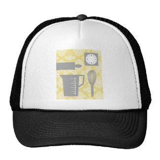 French Country Kitchen - Utensils on damask floral Trucker Hat
