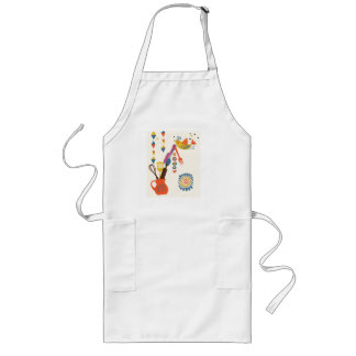 French Country Kitchen - Utensils on floral. Long Apron