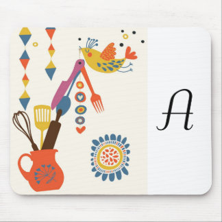 French Country Kitchen - Utensils on floral. Mouse Pad