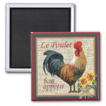 French Country Kitchen Vintage Rooster 2 Inch Square Magnet