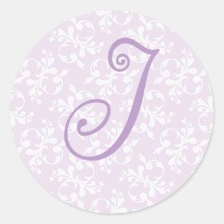 French Country Lavender Monogram J Sticker