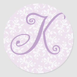 French Country Lavender Monogram K Sticker