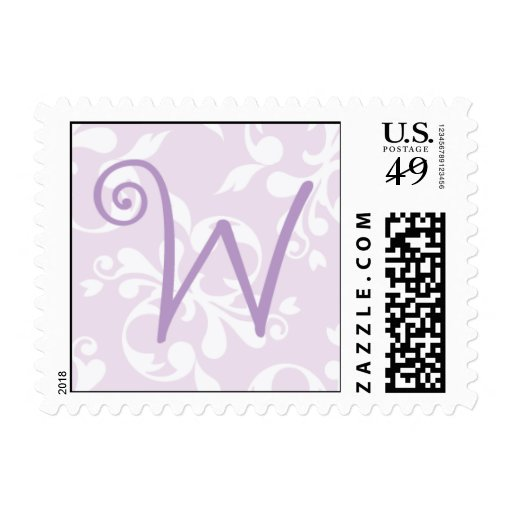 French Country Lavender Monogram W Postage