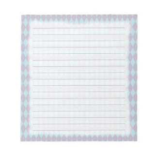 French Country Lilac & Blue Harlequin Notepad