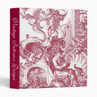 French Country Man and Dog Beautiful Red Toile 3 Ring Binders