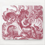 French Country Man and Dog Beautiful Red Toile Mouse Pad
