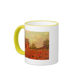 french country monet poppies ringer mug