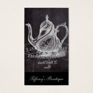french country paris tea party chalkboard teapot business card