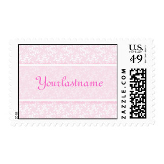 French Country Pink Floral Name Postage