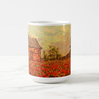 french country poppies coffee mug