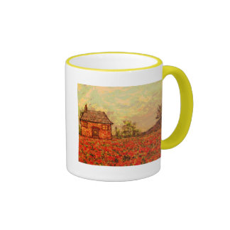 french country poppies ringer mug