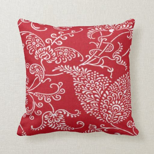 French Country Red MoJo Throw Pillow