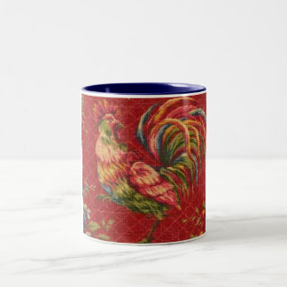 French Country Red Rooster 2 Tone Mug