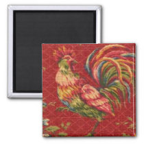French Country Red Rooster Fridge Magnet