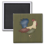 French Country Rooster Green Fridge Magnet