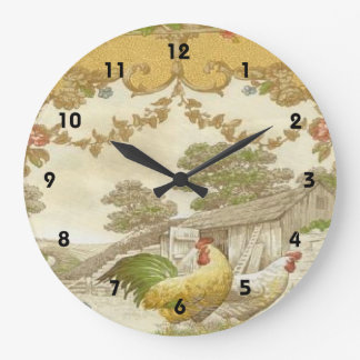 French Country Rooster Hen Chicken Coop Clock