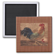 French Country Rooster/Hen Fridge Magnet