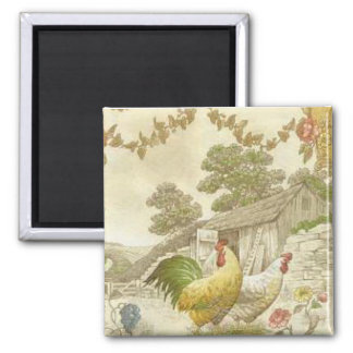 French Country Rooster & Hen Fridge Magnet