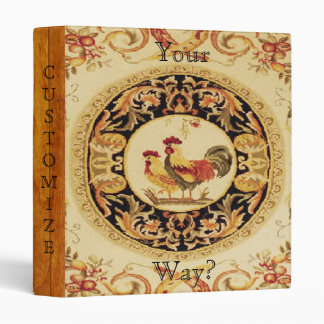 French Country Rooster/Hen Pattern Avery Binder