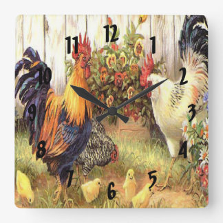 French Country Rooster Hen Print Clock
