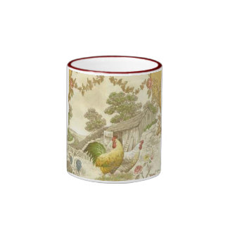 French Country Rooster & Hen Ringer Coffee Mug