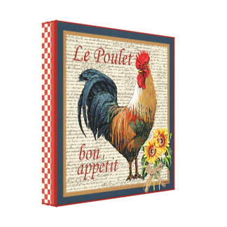 French Country Rooster Le Poulet and Bon Appetit Canvas Print