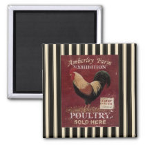 French Country Rooster Poultry Fridge Magnet