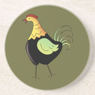 French Country Rooster SageSandstone Drink Coaster